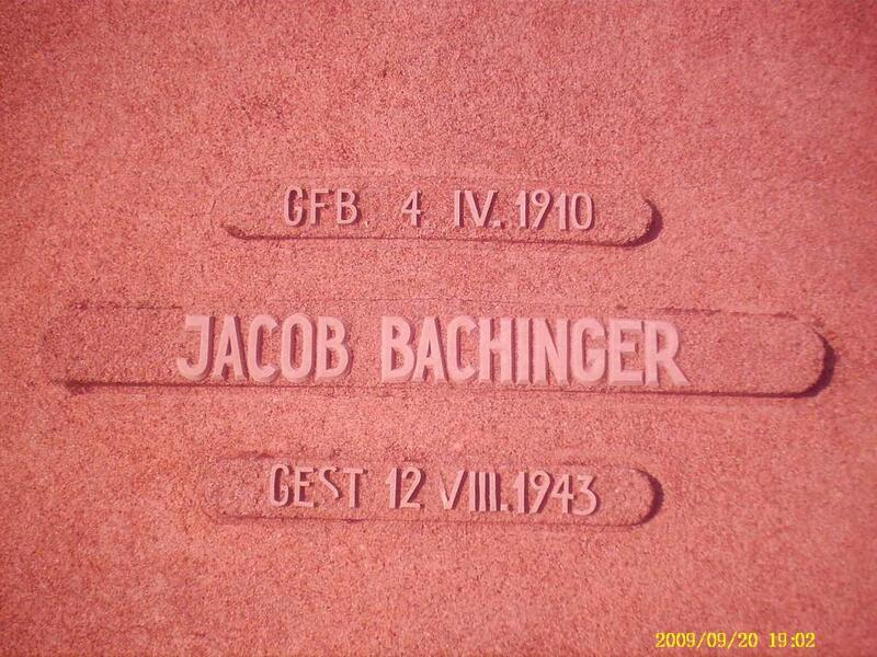 BACHINGER Jacob 1910-1943