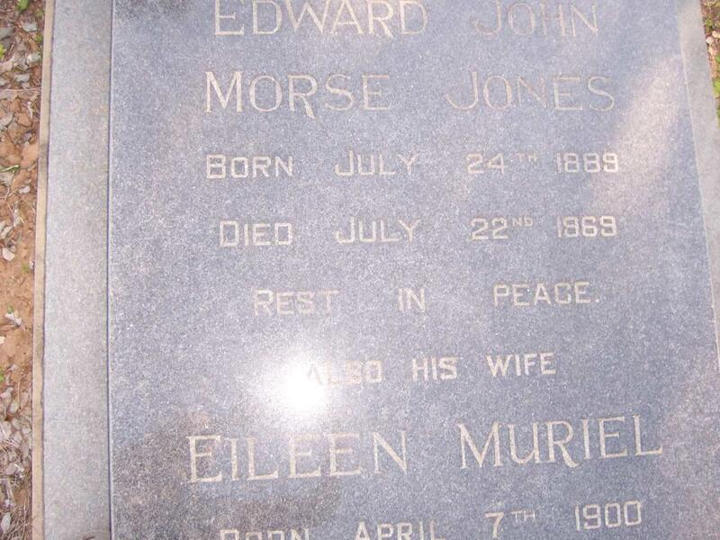 JONES Edward John Morse 1889-1969 & Eileen Muriel 1900-1976