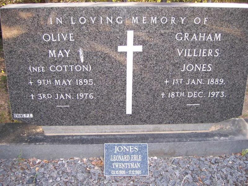 JONES Graham William 1889-1973 & Olive May COTTON 1895-1976 :: JONES Leonard Erle Twentyman 1926-1995