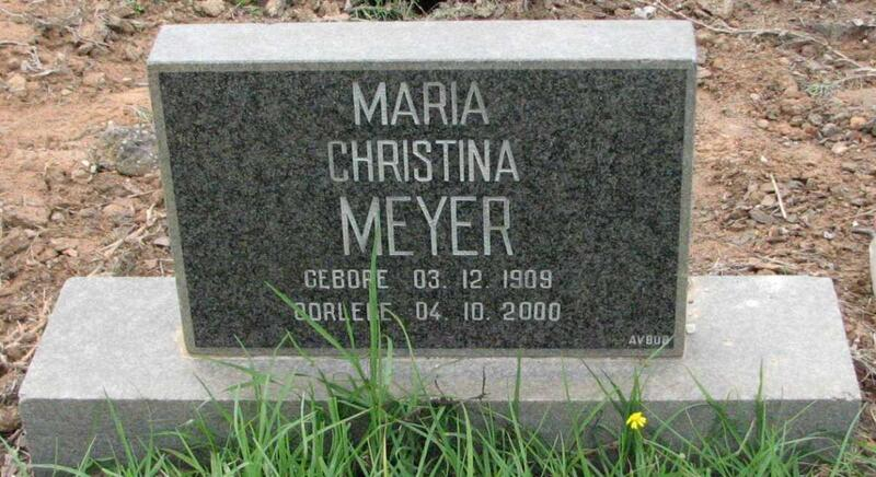 MEYER Maria Christina 1909-2000