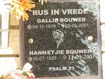 BOUWER Gallie 1919-2001 & Hannetjie 1925-2007