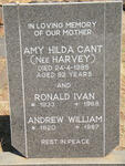 CANT Amy Hilda nee HARVEY -1985 :: CANT Andrew William 1920-1987 :: CANT Ronald Ivan 1933-1968
