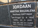 JORDAAN Martha Magdalena previously HATTINGH nee KRUGER 1920-2010