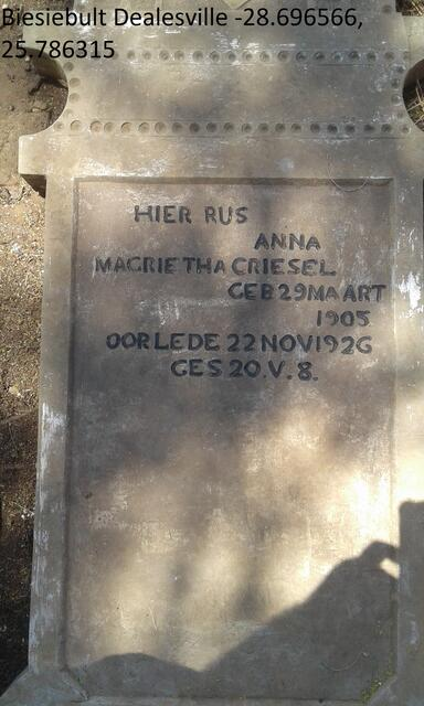 GRIESEL Anna Magrietha 1905-1926