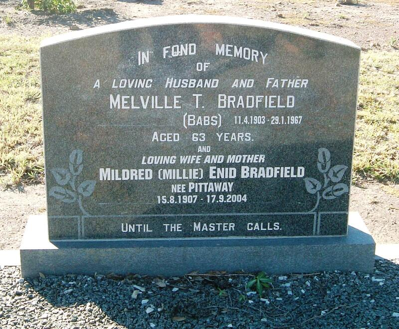 BRADFIELD Melville T. 1903-1967 & Mildred Enid 1907-2004